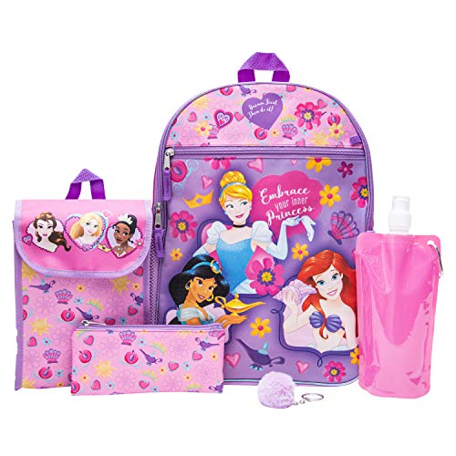 (Disney's Princess Backpack Combo Set - Girls' 6 Piece Backpack Set (Pink))