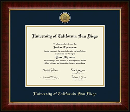 Church Hill Classics UC San Diego Diploma Frame - Murano Moulding, Gold Engraved Medallion - Made in USA