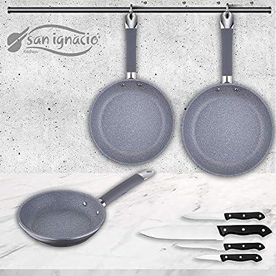 San Ignacio Premium SIP Set 3 sartenes + 4 Cuchillos, Aluminio Forjado
