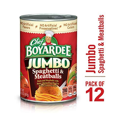 Chef Boyardee Jumbo Spaghetti and Meatballs, 14.5 oz, 12 Pack (Spaghetti Chef Boyardee Meatballs)