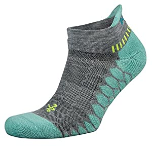 Balega Silver Antimicrobial No-Show Compression-Fit Running Socks for Men and Women (1-Pair), Midgrey/Aqua, Large