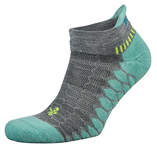 Balega Silver Antimicrobial No-Show Compression-Fit Running Socks for Men and Women (1-Pair), Midgrey/Aqua, Large ()