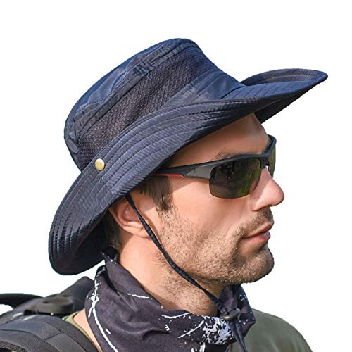 Sun Hats for Men Women Fishing Hat UPF 50+ Protection Summer Outdoor Sun Cap Breathable Wide Brim Hat for Hiking Safari Camping Hunting Boating Gardening Travel Waterproof Bucket Mesh Boonie(Navy)