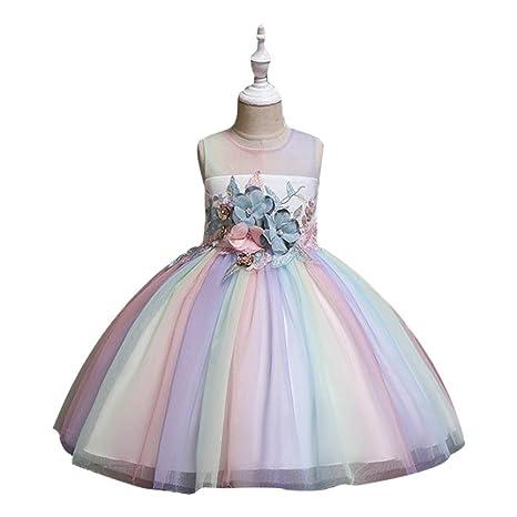 GZYD Vestido de Princesa niña Las Flores Tutú de algodón ...