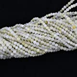 4mm Round Yellow White Jade Beads Loose Gemstone Beads for Jewelry Making Strand 15 Inch (1 x Screw Clasp Included)