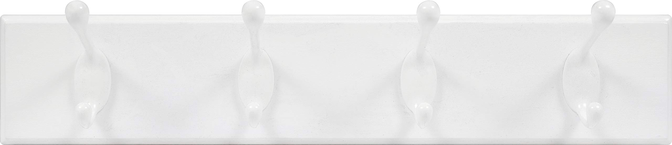 High & Mighty 515701 Tool Free Wall Mounted Coat Rack 18'' with 4 Hooks White