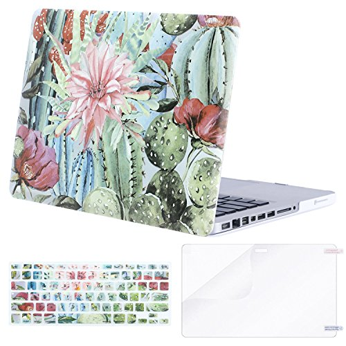 MOSISO Plastic Pattern Hard Case & Keyboard Cover & Screen Protector Only Compatible Old MacBook Pro 13 Inch (A1278, with CD-ROM) Release Early 2012/2011/2010/2009/2008, Cactus Flower