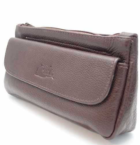 Tobacco Pouch Zipper (Pipe Tobacco Leather Pouch Combo - Authentic Full Grade Leather - Brown)
