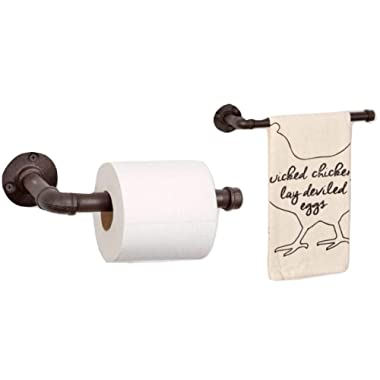CTW Rustic Bathroom Toilet Paper Holder and Hand Towel Rack Bundle, Industrial Country Look Made of Iron Pipe or Vertical Kitchen Paper Towel Holder and Towel Holder
