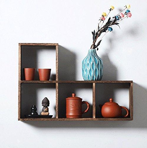 IAIZI ソリッドウッドスクエアシェルフ、茶色の装飾的な壁のベッドルームリビングルームのディスプレイキャビネット (サイズ さいず : B) B07FNGN4LZ B  B