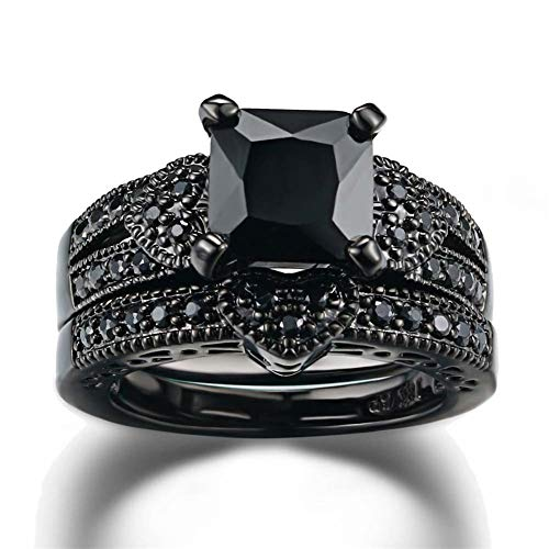 Gy Jewelry Couple Ring His Hers Women Black Gold Filled Cz Men Stainless Steel Bridal Sets Wedding Band by Gy Jewelry (Image #3)