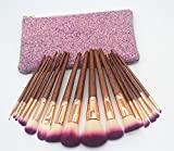Ksan 17Pcs Synthetic Hair Wood Handle Makeup Brushes Kit Blending Blush Brush Tool Brushes Set with Travel Pouch