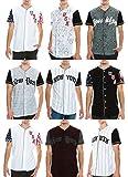 Mens-Hipster-Hip-Hop-Button-Down-Baseball-Jersey-Short-Sleeve-Shirt