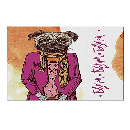 YOLIYANA Pug Durable Door Mat,Fashion Icon Dog with Cool Clothes Scarf Necklace Jacket Handbag Tainted Background for Home Office,19.6