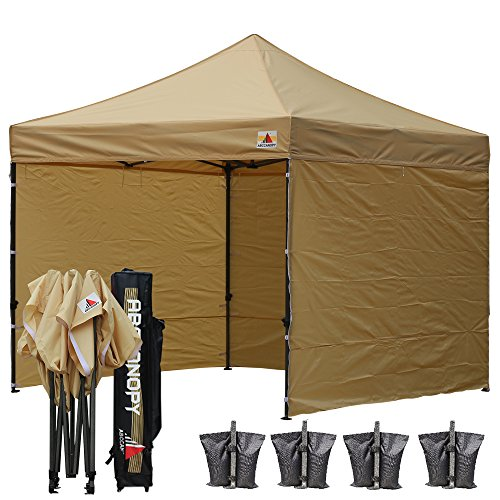 ABCCANOPY 8×8 Pop up Canopy Instant Outdoor Party Tent Shade Gazebo+4 Side Walls + Wheeled Cary Bag Bonus 4x Weight Bag (beige)