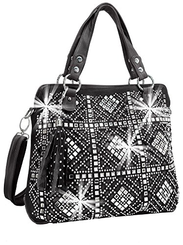 Rhinestone Design Layered Handbag