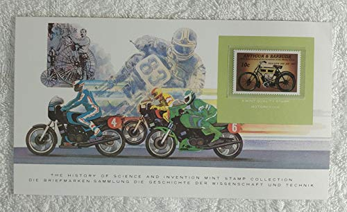 The Motorcycle - Postage Stamp (Antigua and Barbuda, 1985) & Art Panel - The History of Science & Invention - Franklin Mint (Limited Edition, 1986) - 100th Anniversary of the Invention of the Motorcycle, Triumph 2HP JAP 1903 Motorbike ()