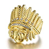 Jewelrysays Hip Hop Jewelry Vintage Stainless Steel Gold Ring Indian Men's Ring(6)