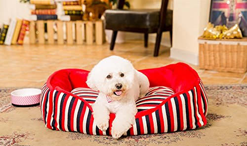 AIDELAI Four Seasons Kennel Washable cat Litter Teddy Dog Supplies Small and Large Dog nest Dog House Dog Bed (Shape: Square) Pet Supplies (Color : Square - Red Stripe, Size : M)