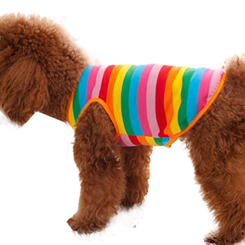 Hihihappy Lovely Clothes,Rainbow Stripe Shirt Dog Cat Apparel Costume Summer as pictureXL