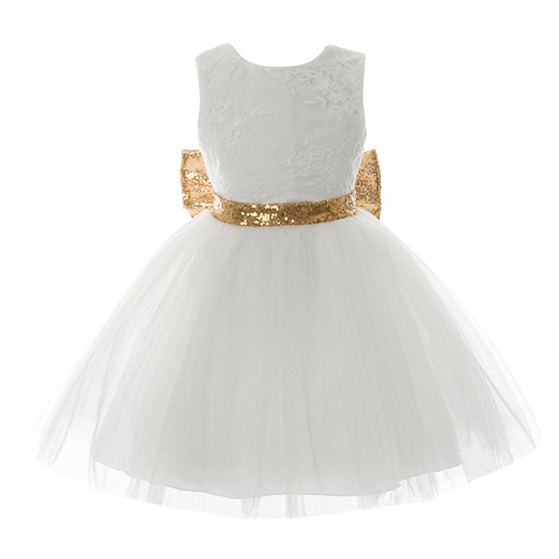 Inlefen Girls Bowknot Lace Princess Gonna Paillettes Estate Abiti per Bebè Bambini 0-5 Anni