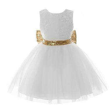 be952b0f2ab Inlefen Filles Bowknot Dentelle Princesse Jupe D été Paillettes Robes pour  Bébé Tout-Petits