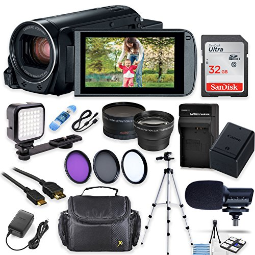 Canon Vixia HF R82 Wi-Fi 1080p HD Video Camera Camcorder + 32GB Card + Battery & Charger + Camera Case + Tripod + LED + Microphone + 2 Lens Kit (Canon Recording Video Camera)