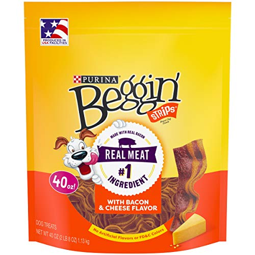Purina Beggin' Strips Made in USA Facilities Dog Training Treats; Bacon & Cheese Flavors - 40 oz. Pouch