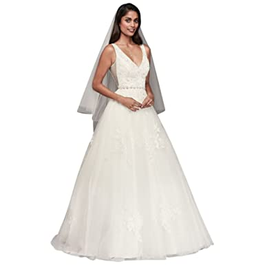 Davids Bridal Mikado And Tulle V Neck Ball Gown Wedding Dress Style WG3877 Ivory
