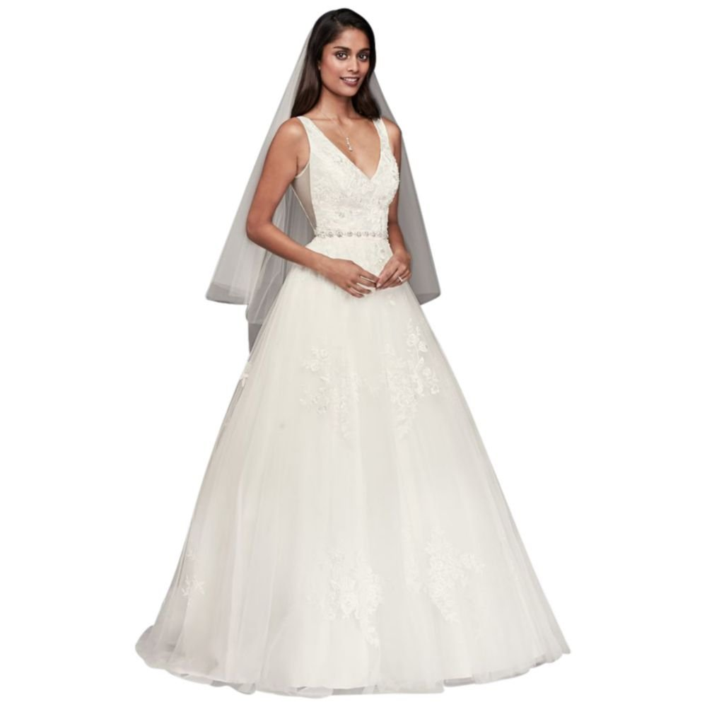 Mikado Wedding Gown: Mikado And Tulle V-Neck Ball Gown Wedding Dress Style