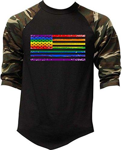 Raglan Gay Rainbow Flag - Interstate Apparel Men's Rainbow Gay Flag Black/Camo Raglan Baseball T-Shirt Medium