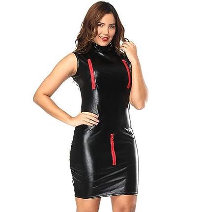 Mujer Erótico Látex Vestido Latex Catsuit Tres Puntos Cremallera Hueco Cuero Bodycon Vestidos,XL