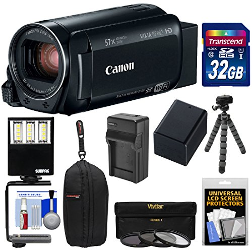 - Canon Vixia HF R82 32GB Wi-Fi 1080p HD Video Camera Camcorder with 32GB Card + Battery & Charger + Case + 3 Filters + LED Light + Tripod Kit