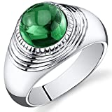 Mens 5.50 Carats Simulated Emerald Ring Sterling Silver Rhodium Nickel Finish Size 11