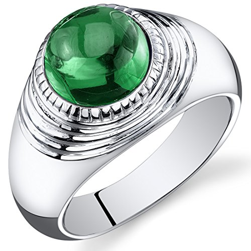 Mens 5.50 Carats Simulated Emerald Ring Sterling Silver Rhodium Nickel Finish Size 11 by Peora (Image #4)