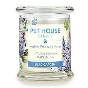 Pet House Candle in 15 Fragrances - All Natural Soy Wax Candle and Pet Odor Eliminator - Eco-Friendly, Non-Toxic, Paraffin-Free - 60-70-Hour Burn Time - Lilac Garden