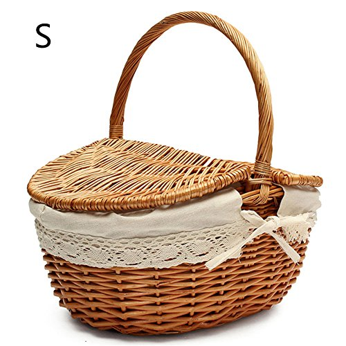 (cheerfullus Handmade Wicker Picnic Basket Camping Shopping Storage Hamper with Double Lid and Handle - Small Wood Color)