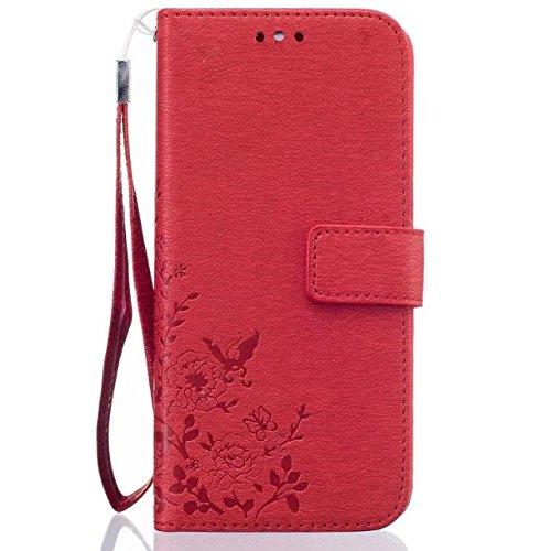 SRY-Funda móvil Samsung Samsung S7 borde caso, caja de estilo de la cartera de colores patrón de diseño magnético flip folio cubierta de la cubierta de cuero de la PU cubierta para Samsung S7 borde (  Red