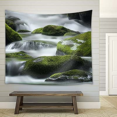 Cascading Spring with Stones - Fabric Tapestry, Home Decor - 51x60 inches