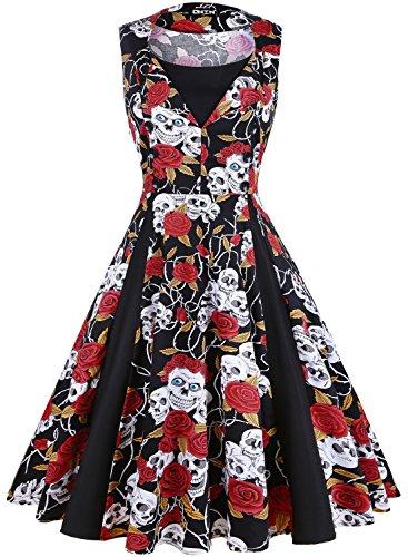 OWIN - Vestido - Noche - para mujer Skeleton + Red Rose