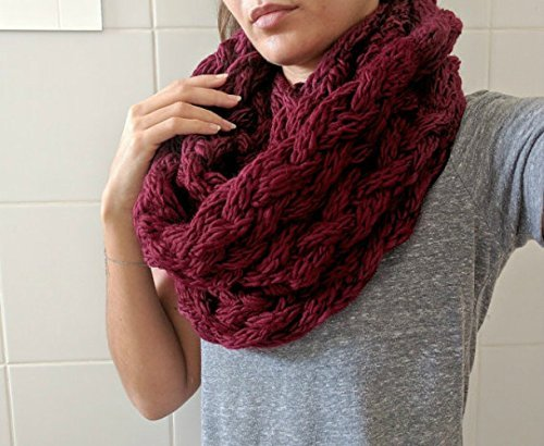Cable Knit Infinity Scarf, A Chunky Double Wrapped Scarf in Red Velvet