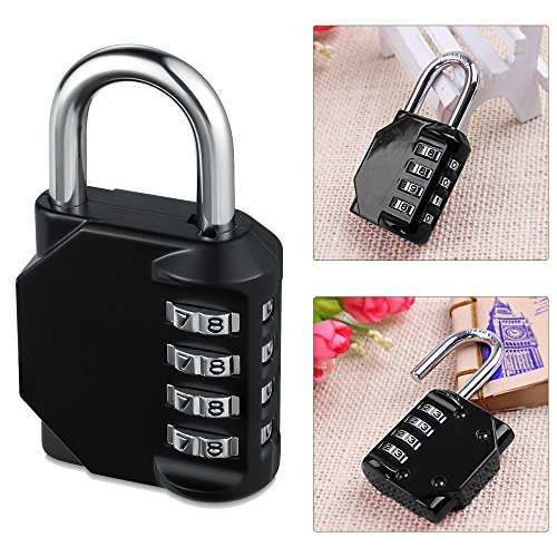 Combination Lock, Pack of 2 Heavy Duty 4 Digit Anti Rust Weather-Proof Key Less Padlock Metal & Plated Steel Combination Lock for Home, School Gym Locker, Fence, Toolbox, Cabinet (Black) by Qable Powerz(TM) (Image #4)