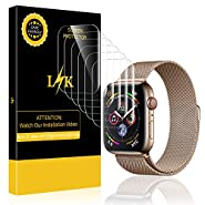 [6 Pack] LK Screen Protector for Apple Watch 44mm (Series 4), LiquidSkin [Max Coverage] Anti-Bubble with Lifetime Replacement Warranty