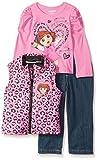 Nickelodeon Little Girls' Dora 3 Piece Print Nylon Vest Set, Pink, 4T