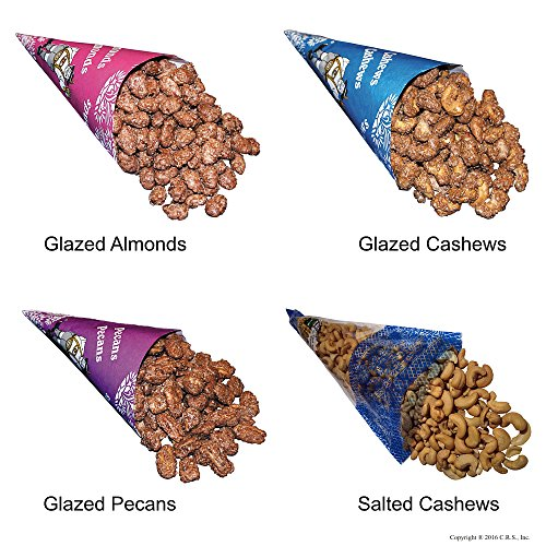 - Cinnamon Glazed Roasted Almonds, Cashews, Pecans, and Lightly Salted Cashews in 4 Cone Pack