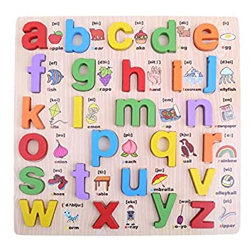 Crazy Crafts Wooden Alphabet English Letters Jigsaw Puzzle Kids Educational (Lower case/ Small Letters ) Learning Digital Board Educational for Kids Multicolour