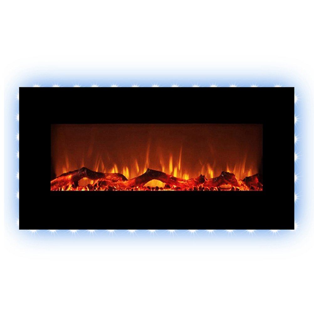 FLAMEandSHADE 48'' Electric Fireplace, Wall Fireplace Heater with Remote, Free Standing or Wall Mounted, Flat Panel, 10 LED Flame and Backlight Colors