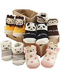 5 Pairs/Set Newborn Baby Combed Cotton Anti-skidding Socks as Indoor Boots Slippers