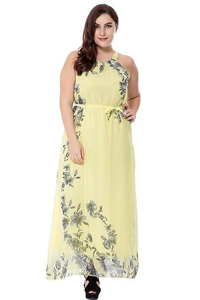 ZhuiKun Vestido Tallas Grandes Vestidos Largos Bohemian de La Playa de Las Mujeres Amarillo 4XL