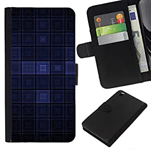 KingStore / Leather Etui en cuir / HTC DESIRE 816 / Dark Blue Modern Wallpaper cuadros Square